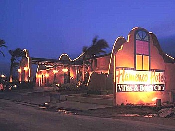 Flamenco Villas Hotel front at night